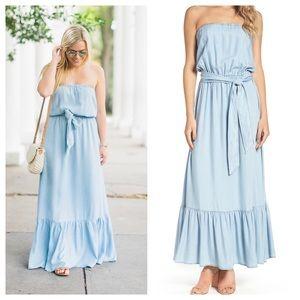 BB Dakota Strapless Chambray Maxi Dress